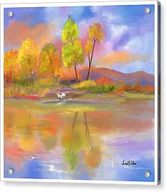 Acrylic Print featuring the painting Burst Of Autumn by Sena Wilson
