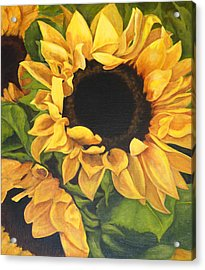 Acrylic Print featuring the painting Burst Of Sunflowers by Sandra Nardone
