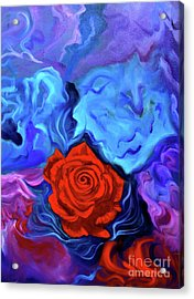 Bursting Rose Acrylic Print by Jenny Lee