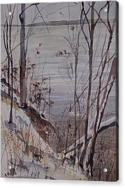 Acrylic Print featuring the painting Burt Lake In Winter by Sandra Strohschein