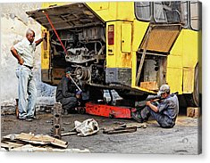 Bus Repairs Acrylic Print by Dawn Currie