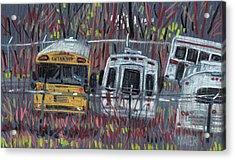 Bus Yard Acrylic Print by Donald Maier