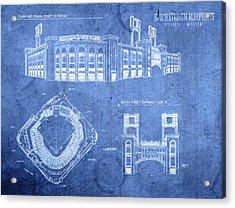Busch Stadium St Louis Cardinals Baseball Field Blueprints Acrylic Print by Design Turnpike