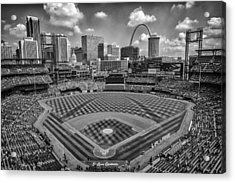 Busch Stadium St. Louis Cardinals Black White Ballpark Village Acrylic Print