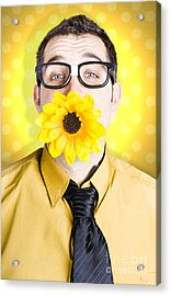 Business Man Celebrating Summer With Sun Flower Acrylic Print by Jorgo Photography - Wall Art Gallery