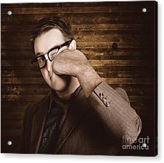 Business Man Under Stress Punching A System Reboot Acrylic Print by Jorgo Photography - Wall Art Gallery