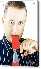 Business Person Cutting The Red Tape Acrylic Print by Jorgo Photography - Wall Art Gallery