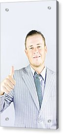Business Person Pointing Up To Copyspace Acrylic Print by Jorgo Photography - Wall Art Gallery