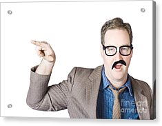 Businessman Gesturing With Finger Acrylic Print by Jorgo Photography - Wall Art Gallery