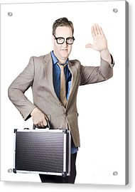 Businessman Showing Hand Holding Briefcase Acrylic Print by Jorgo Photography - Wall Art Gallery