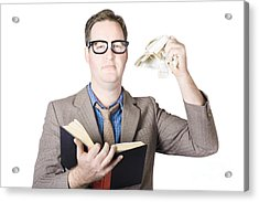 Businessman Tearing Pages From Book Acrylic Print by Jorgo Photography - Wall Art Gallery