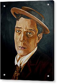 Acrylic Print featuring the painting Buster Keaton Tribute by Bryan Bustard