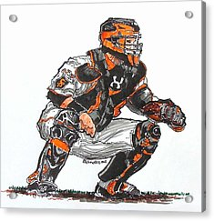 Buster Posey Acrylic Print by Terry Banderas