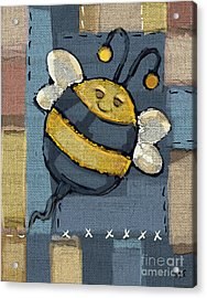 Acrylic Print featuring the mixed media Busy Bee by Carrie Joy Byrnes