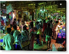 Acrylic Print featuring the photograph Busy Chennai India Flower Market by Mike Reid