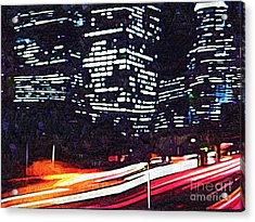 Busy City At Night Acrylic Print by Deborah MacQuarrie-Selib