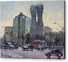 Busy Morning In Downtown Mississauga Acrylic Print