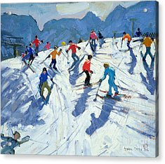 Busy Ski Slope Acrylic Print by Andrew Macara
