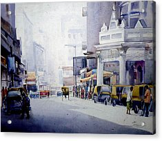 Acrylic Print featuring the painting Busy Street In Kolkata by Samiran Sarkar