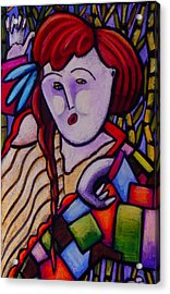 Butah Dancer Wearing Quilot Acrylic Print by Angelina Marino