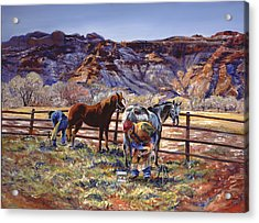 Butch And Clayton  Swapping Shoes And Tales Acrylic Print by Page Holland