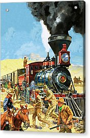Butch Cassidy And The Sundance Kid Hold Up A Union Pacific Railroad Train Acrylic Print