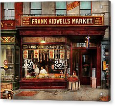 Acrylic Print featuring the photograph Butcher - Meat Priced Right 1916 by Mike Savad