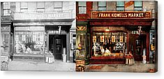 Butcher - Meat Priced Right 1916 - Side By Side Acrylic Print by Mike Savad