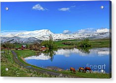 Acrylic Print featuring the photograph Butte Farm After Spring Snow by Robert Bales