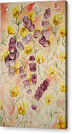Buttercups And Lavendar Acrylic Print