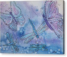 Acrylic Print featuring the painting Butterflies And Dragonflies by Ellen Levinson