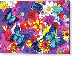 Butterflies And Flowers Acrylic Print