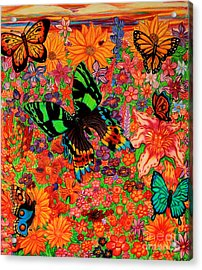 Butterflies And Flowers Acrylic Print by Nick Gustafson