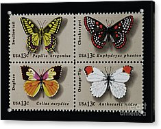 Butterflies Postage Stamp Print Acrylic Print by Andy Prendy
