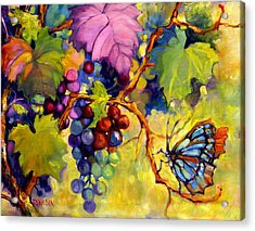 Butterfly And Grapes Acrylic Print by Peggy Wilson