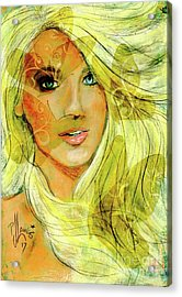 Acrylic Print featuring the painting Butterfly Blonde by P J Lewis
