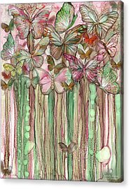 Acrylic Print featuring the mixed media Butterfly Bloomies 1 - Pink by Carol Cavalaris