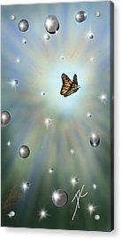 Acrylic Print featuring the digital art Butterfly Bubbles by Darren Cannell