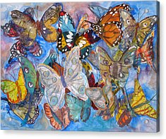 Butterfly Collage Acrylic Print by Joyce Kanyuk