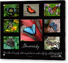 Acrylic Print featuring the photograph Butterfly Generosity Collage by Diane E Berry