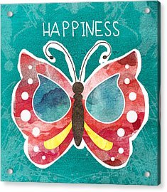 Butterfly Happiness Acrylic Print by Linda Woods