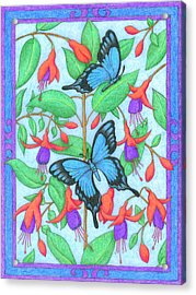 Butterfly Idyll-fuchsias Acrylic Print