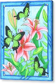 Butterfly Idyll- Lilies Acrylic Print