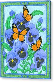 Butterfly Idyll-pansies Acrylic Print