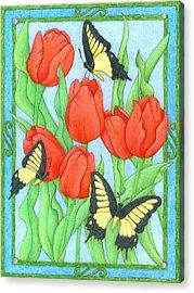 Butterfly Idyll-tulips Acrylic Print