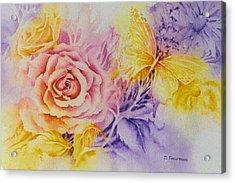 Butterfly-in-the-garden Acrylic Print by Nancy Newman