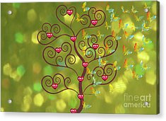 Butterfly Of Heart Tree Acrylic Print