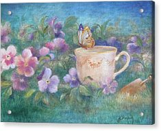 Butterfly On Teacup Acrylic Print