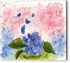 Butterflies Or Hydrangea Flower, You Decide Acrylic Print