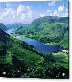Buttermere And Crummock Water From Haystacks, Cumbria. Uk Acrylic Print